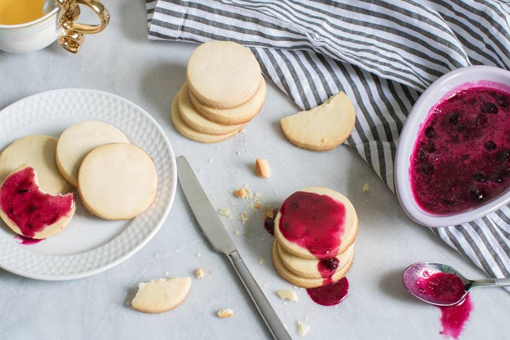 Classic Homemade Shortbread Cookies + Blueberry Jam