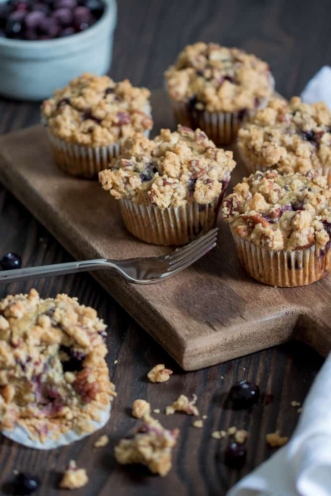 Vegan Banana Blueberry Pecan Crumble Muffins