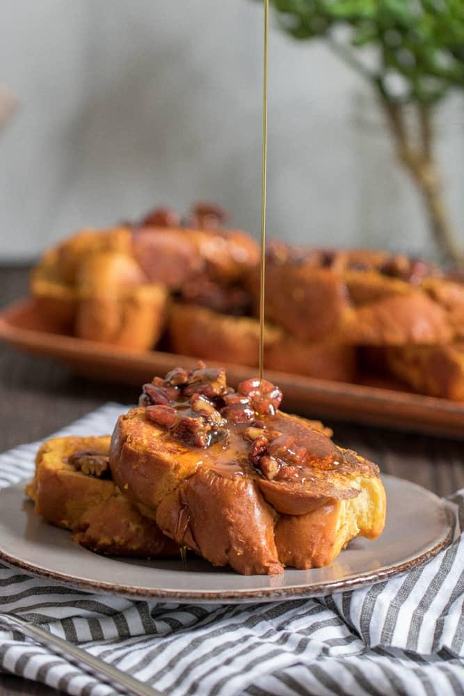 Pumpkin French Toast + Praline Sauce