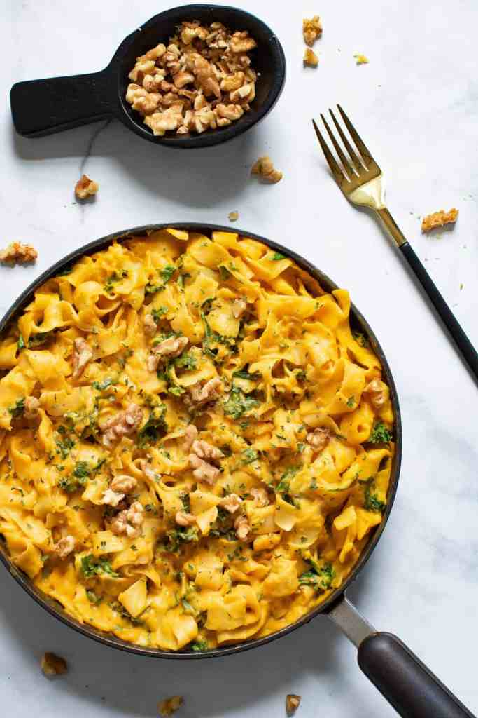 Vegan Sweet Potato Pasta w/ Kale + Spinach