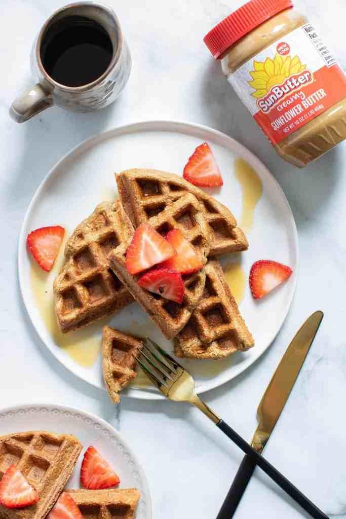 Vegan + GF Banana SunButter Oat Waffles