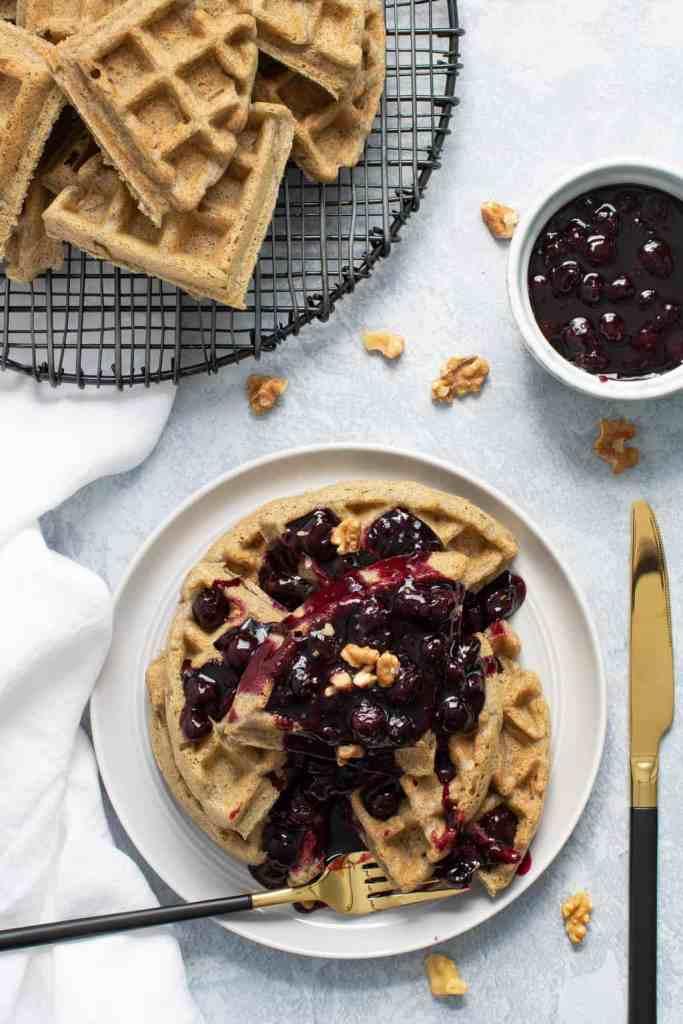 Fluffy Gluten-Free + Vegan Buckwheat Waffles + Blueberry