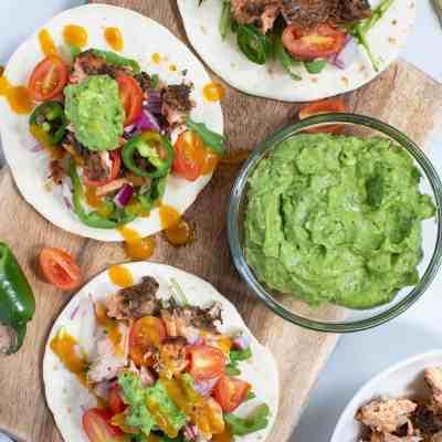 Jerk Salmon Tacos + Avocado Cilantro Lime Sauce
