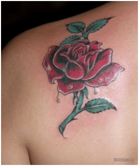Single red rose tattoo orchids plus for Single flower tattoo