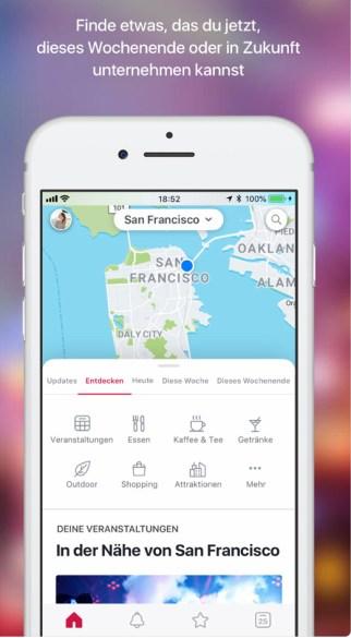Screenshot der App von Facebook Local