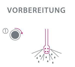 Grafische Darstellung, um die Dampfdüse für Milchschaum zu reinigen