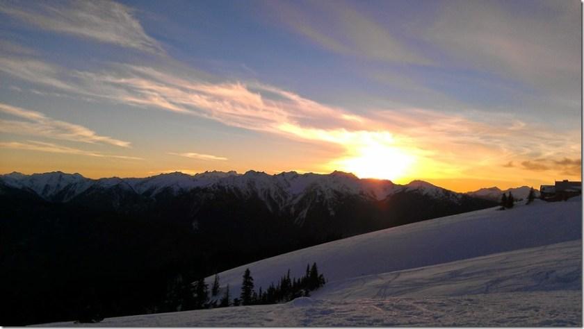 Hurricane Ridge Snowshoeing sunset
