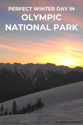 sun setting behind mountains with snow in the foreground. Text says perfect winter day in Olympic National Park