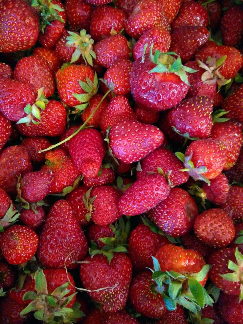 A pile of ripe, red strawberries