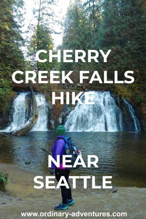 A person At the end of the Cherry Creek Falls hike is gorgeous Cherry Creek Falls. It has two sides that plunge over a rock into a pool below. The waterfall is surrounded by evergreen trees and ferns. Text reads: Cherry Creek Falls hike near Seattle
