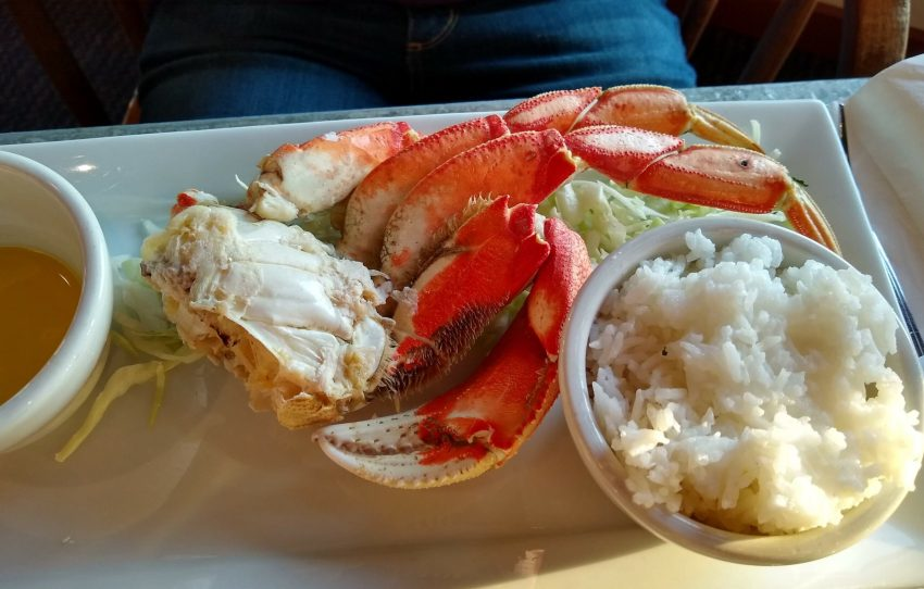 Crab on a plate in a restaurant in Alaska