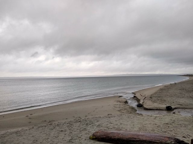 A sandy beach with a small creek outlet on an overcast day at Golden Gardens.