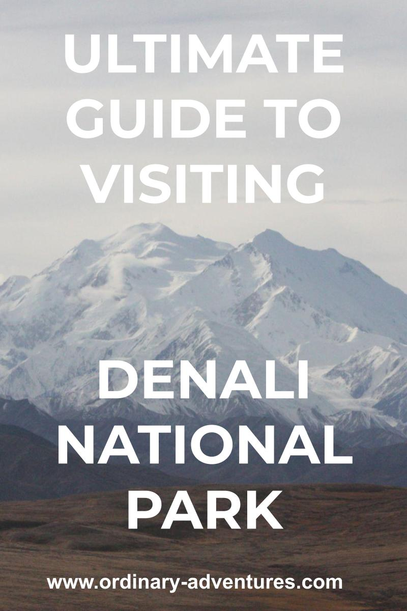 Denali, the High One on an overcast day with a valley in the foreground text reads: ultimate guide to visiting denali national park