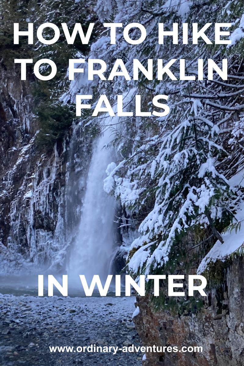 A waterfall coming down a vertical cliff covered in ice and icicles. There are snowy trees in the foreground. Text reads: how to hike to franklin falls in winter