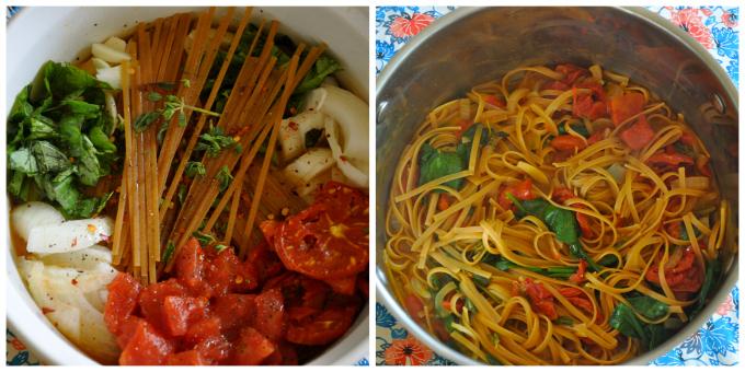 One Pot Tomato Basil Spinach Pasta