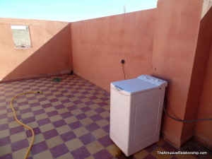 Our somewhat new washing machine setup on the roof.