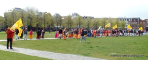 Hare Krishnas parading through Museumplein