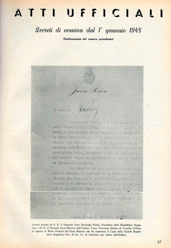 lettera-del-Gen-Peron-Gran-Maestro-onorario-dellOrdine-Militare-di-S.-Brigida-di-Svezia