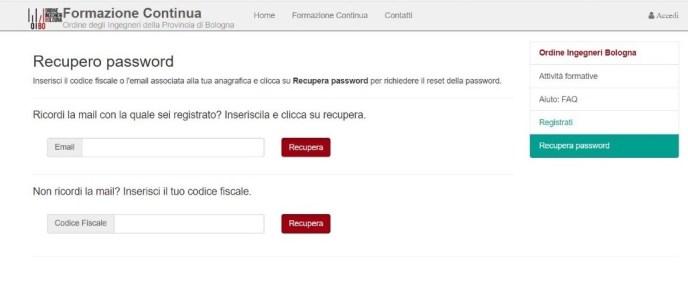 recupera password ingegneri bologna