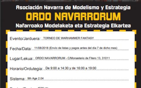 Cartel Torneo I Torneo Warhammer 9 Age Ordo Navarrorum
