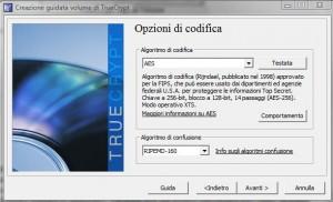 TrueCrypt: Selezione Algoritmo di Codifica