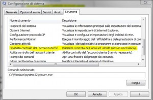 Vista: controllo account utente