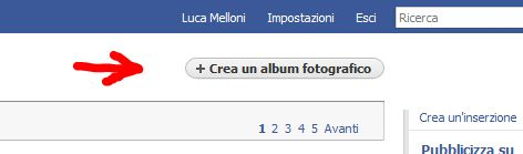 Facebook: crea nuovo album fotografico