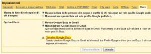 Disattivare Google Buzz