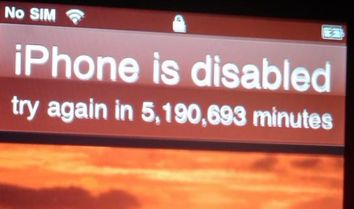 iPhone disabilitato per molti minuti