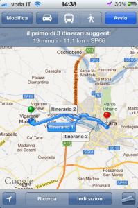 Itinerario su Mappe iOS