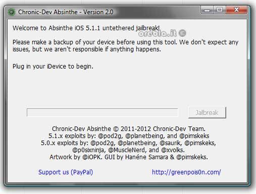Absinthe 2.0: schermata principale