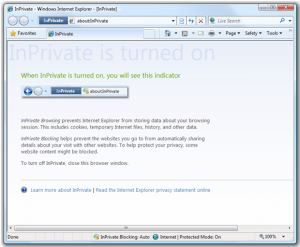 IE8: Finestra InPrivate Browsing in funzione