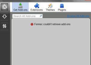Gestione Add-ons con Fennec