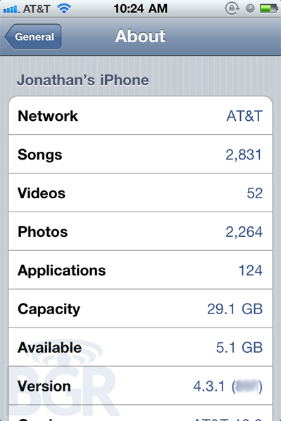 iOS 4.3.1 Aggiornamento