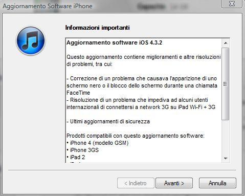 iTunes aggiornamento a iOS 4.3.2 Changelog