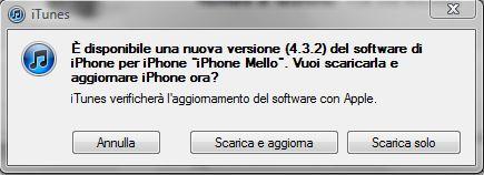 iTunes aggiornamento a iOS 4.3.2