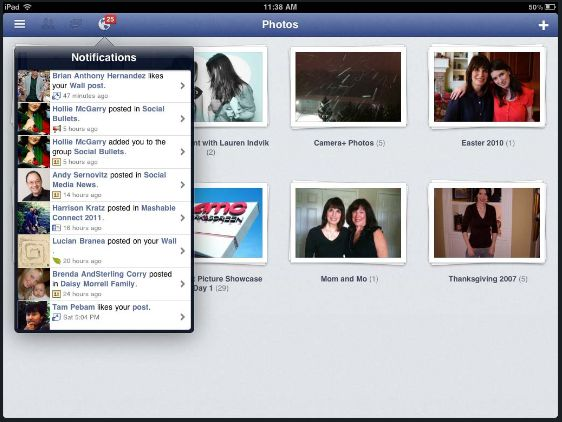 Screenshoot Facebook per iPad