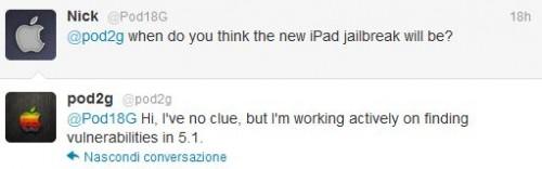 Pod2g tweet su jailbreak iOS 5.1