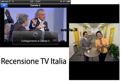 TV Italia: visualizza canali in landscape e normale