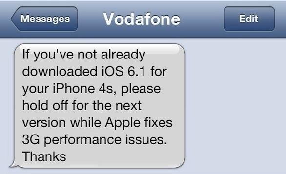 Vodafone UK consiglia di non aggiorare a iOS 6.1