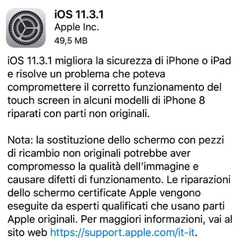 Disponibile iOS 11.3.1 e aggiornamento di sicurezza di macOS 10.13.4
