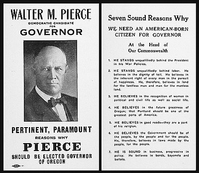 Walter Pierce Democratic Candidate for Governor, 1918