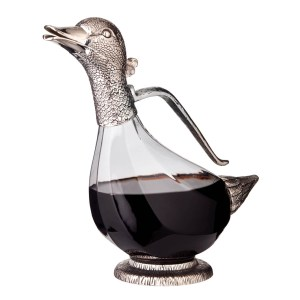 jolie carafe canard col métal argenté