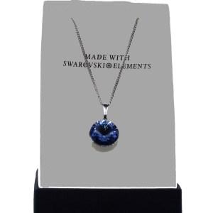 pendentif swarovski lentille bleue