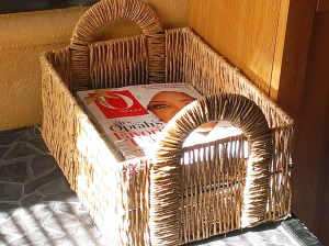 Recently purged magazine and catalog basket. Still plenty to read, and room for more.
