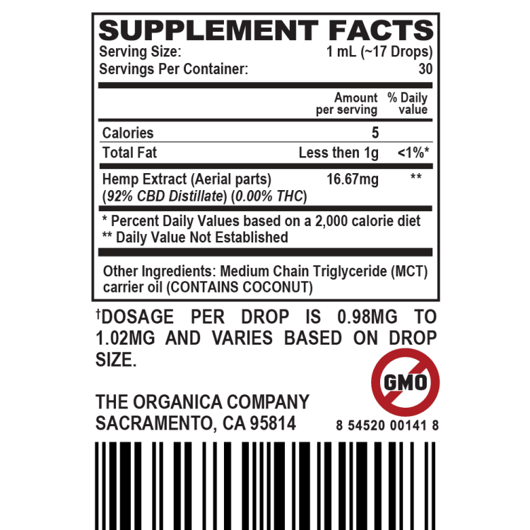 Broad Spectrum CBD Oil Tincture 500MG - Supplement Facts Label