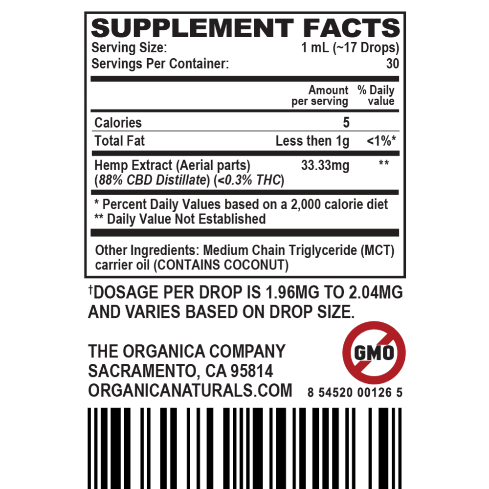 CBD Oil - Ultra Concentrated Full Spectrum 1000 MG Supplement Facts