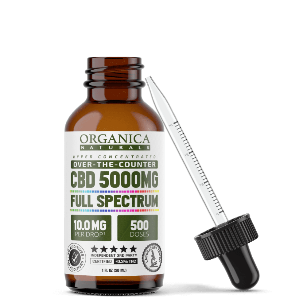 CBD Oil - Hyper Concentrated 5000mg Full Spectrum Formula Bottle With Dropper