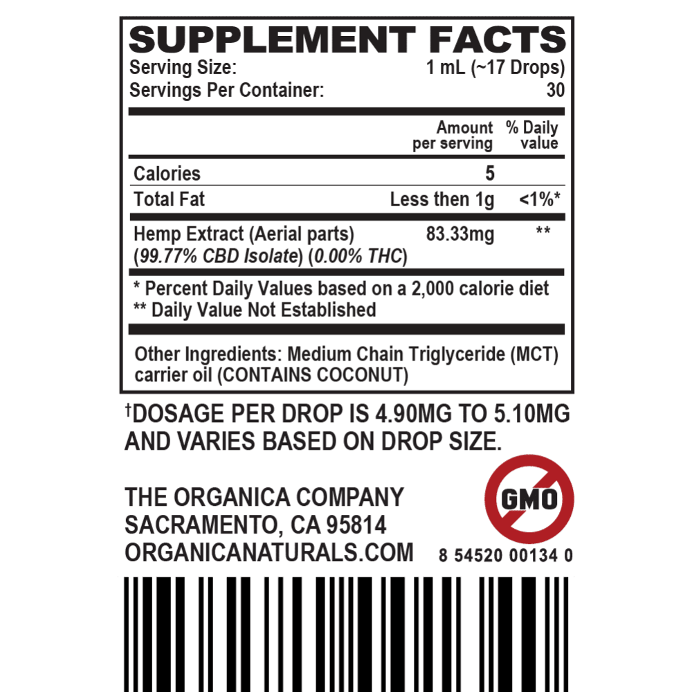 Zero High CBD Oil Super Concentrated Isolate Tincture - THC-Free - 2500MG Supplement Facts Label