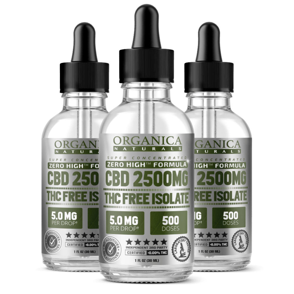Zero High CBD Oil Super Concentrated Isolate Tincture - THC-Free - 2500MG Bottles Three Month Supply